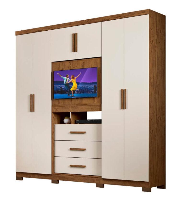 Guarda-roupa c/ espelho 3 gavetas e 6 portas - Castanho Wood e Baunilha - Dubai Plus Moval Móveis