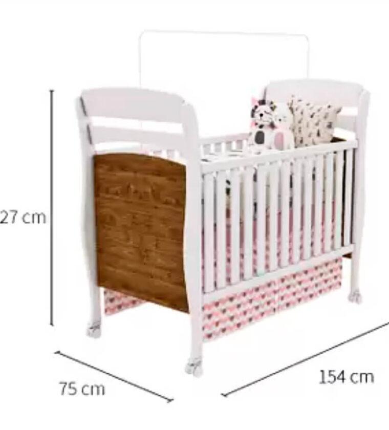 Berço Crystal c/ mini cama – Imbuia Rustic/Neve – Tcil