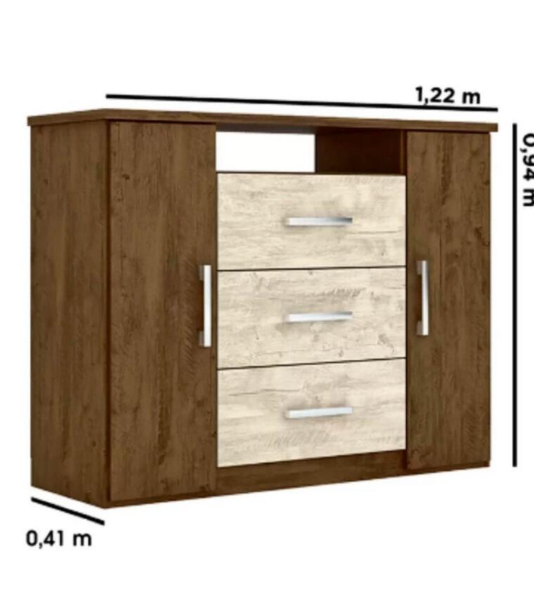 Cômoda 3 Gavetas e 2 Portas Prisma Moval - Castanho Wood/Baunilha Avelã