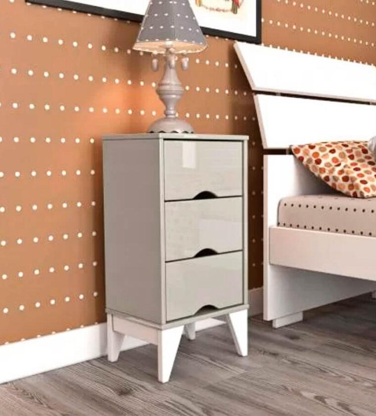 Mesa de Cabeceira Retrô Twister -Off White - Tcil Móveis