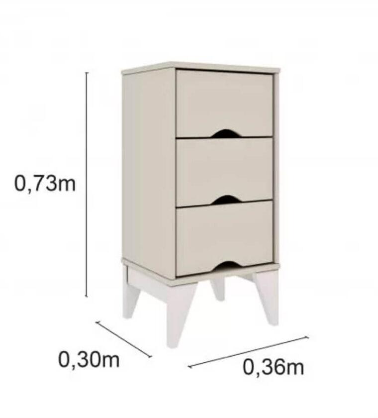 Mesa de Cabeceira 3 Gavetas Retrô Twister Tcil Móveis Off White