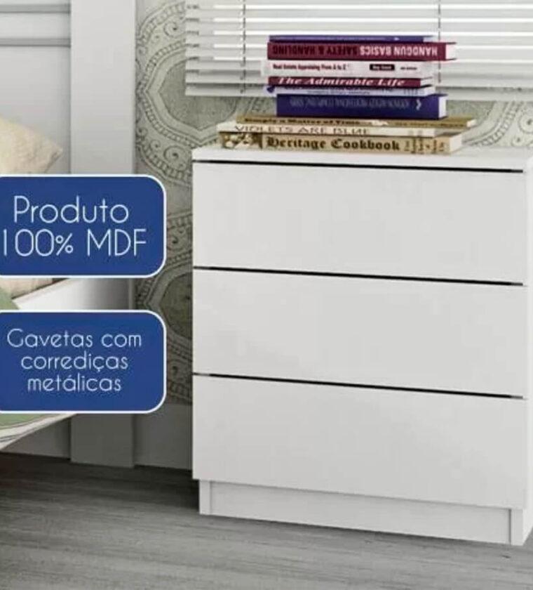 Mesa de Cabeceira 3 Gavetas Veronna Tcil Móveis Branco