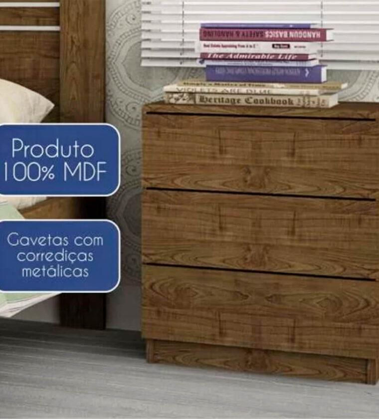 Mesa de Cabeceira 3 Gavetas Veronna - Imbuia Rustic - Tcil Móveis