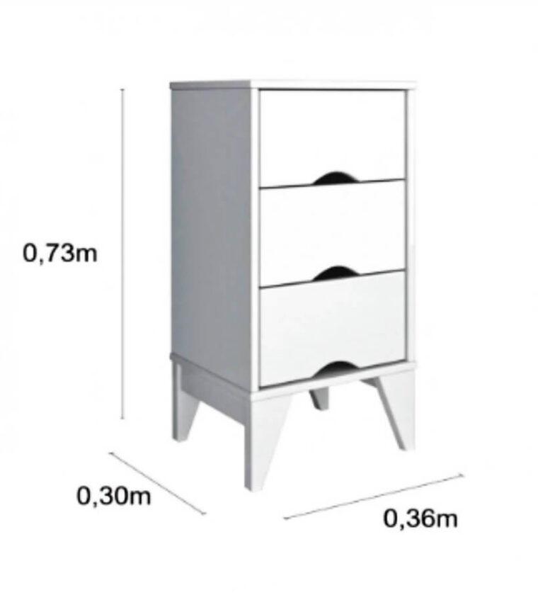 Mesa de Cabeceira Retrô Twister - Branco - Tcil Móveis