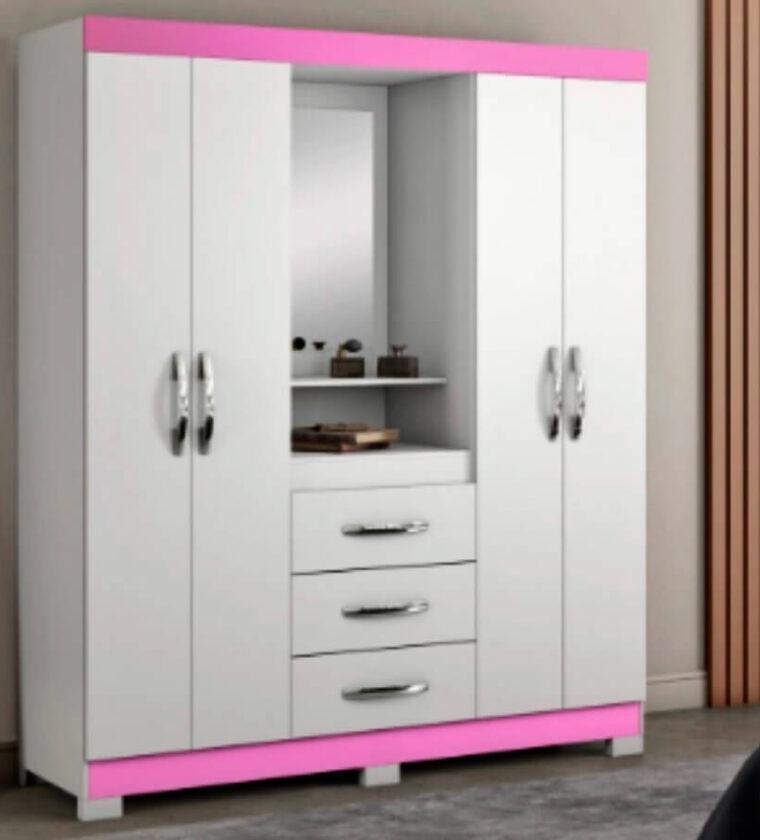 Guarda Roupa Casal 1 Espelho e Penteadeira 4 Portas 3 Gavetas Ilhéus Visão Móveis - Branco e Rosa