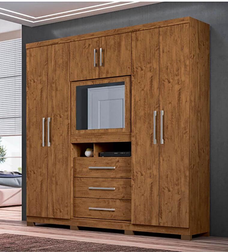 Guarda-roupa com espelho 3 gavetas e 6 portas - Castanho Wood- Dubai Plus Moval Móveis