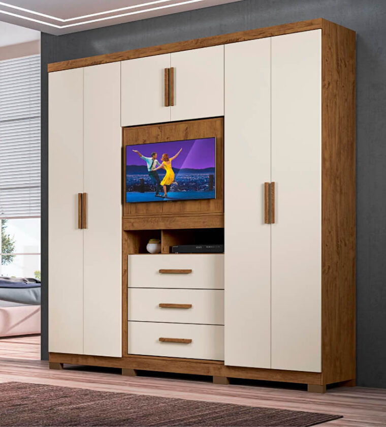 Roupeiro Dubai Plus- Castanho Wood/Baunilha- Moval Móveis