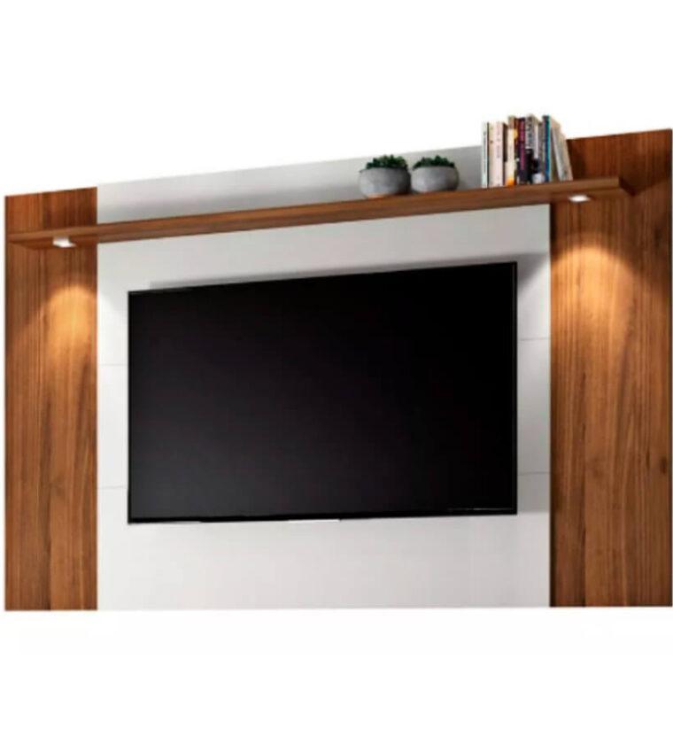Painel Fortaleza para TV até 60 Polegadas LED 1 Prateleira Linea Brasil - Nogueira e Off White