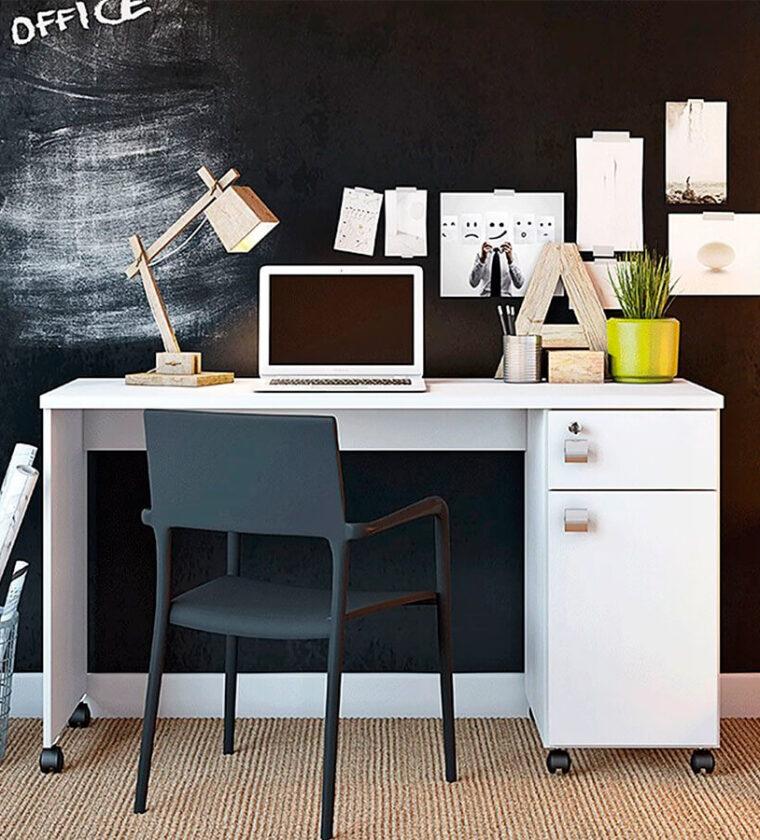 Escrivaninha Office Malta Branca 1 Porta 1 Gaveta Com Chave E Rodízios - Lukaliam