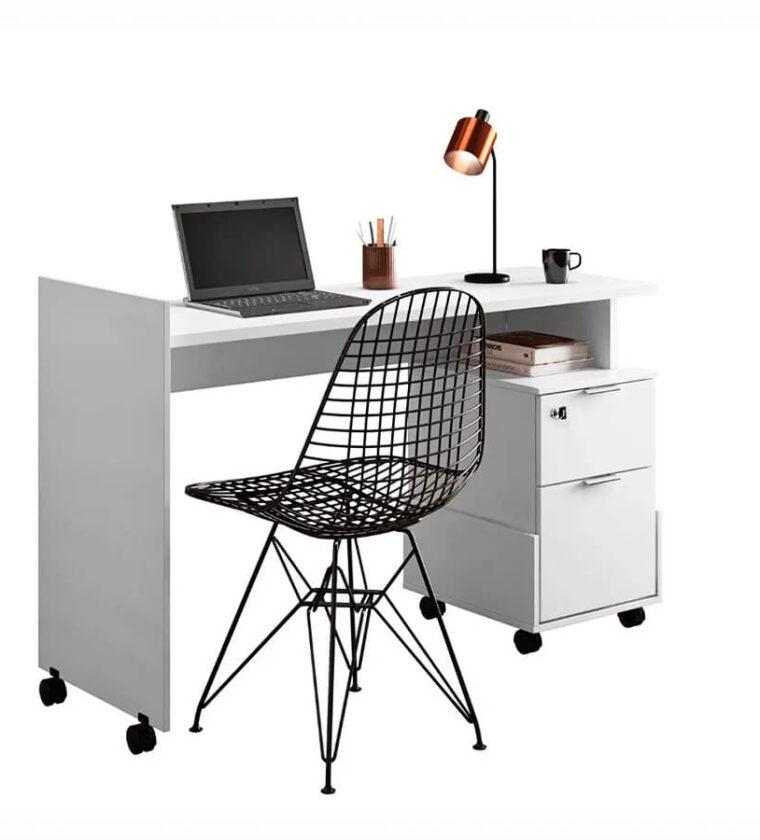 Mesa Office Alessa M1 Branco - Lukaliam