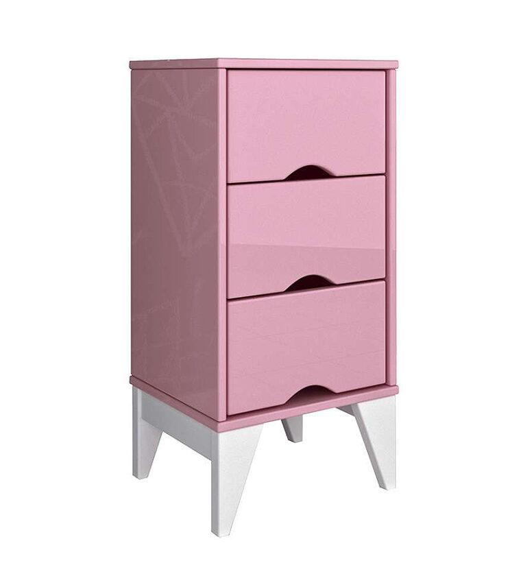 Mesa De Cabeceira Furacão Twister Quartzo - Rosa/Branco - Tcil Móveis