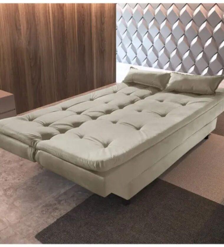 Sofa Cama 3 Lugares Premium - Bege - Pro Stylos Estofados