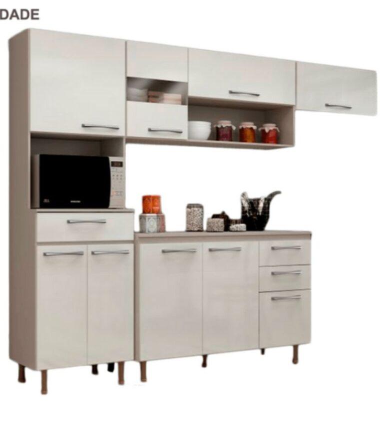 Cozinha Luma C/ Balcão - Taupe/Offwhite - Visão Móveis