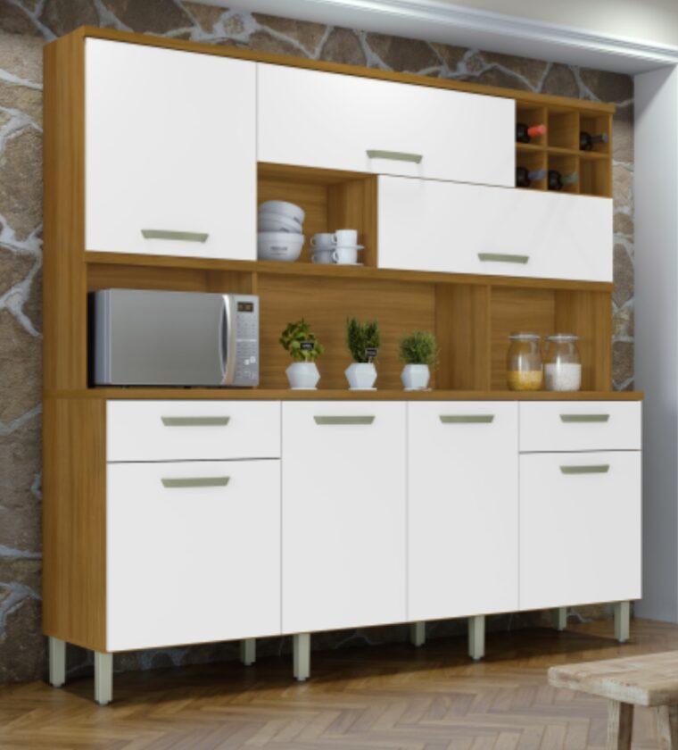 Cozinha Master 7 portas/2 Gavetas - Freijo/Branco - Nesher