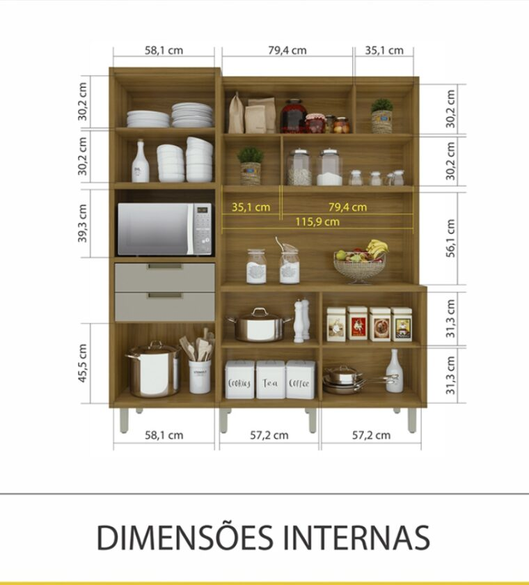 Cozinha Loft Imperatriz 6Portas/2Portas - Freijo/OffWhite - Nesher