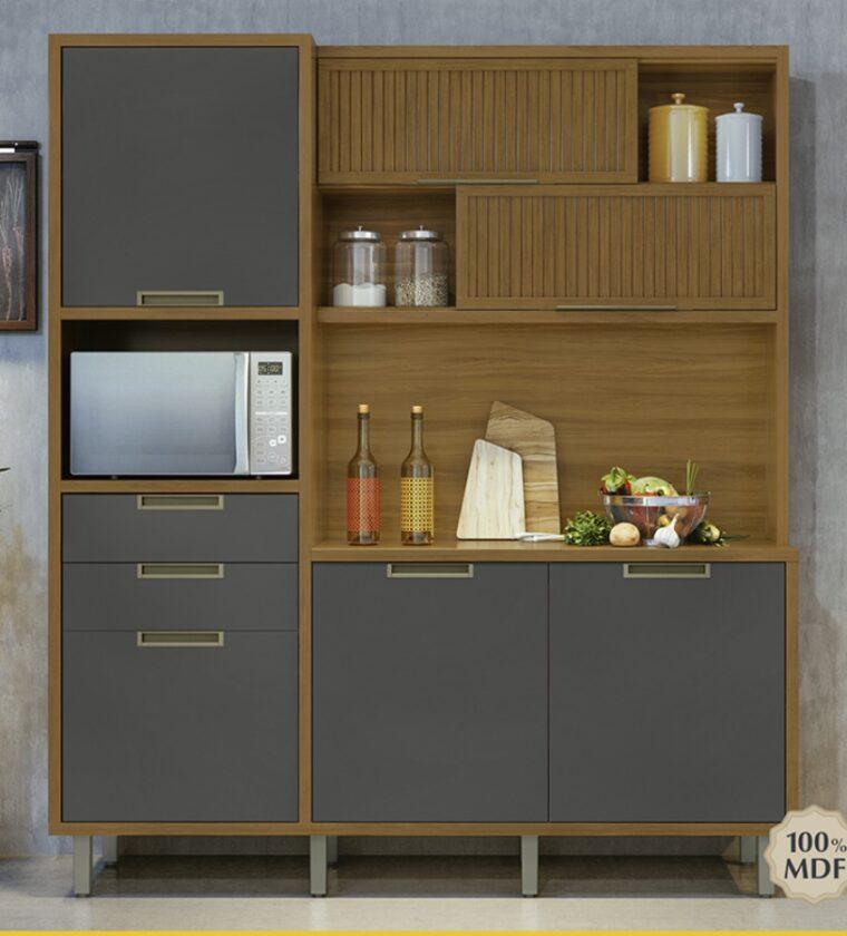 Cozinha Loft Imperatriz 6 portas/2 gavetas - Freijo/Grafite - Nesher