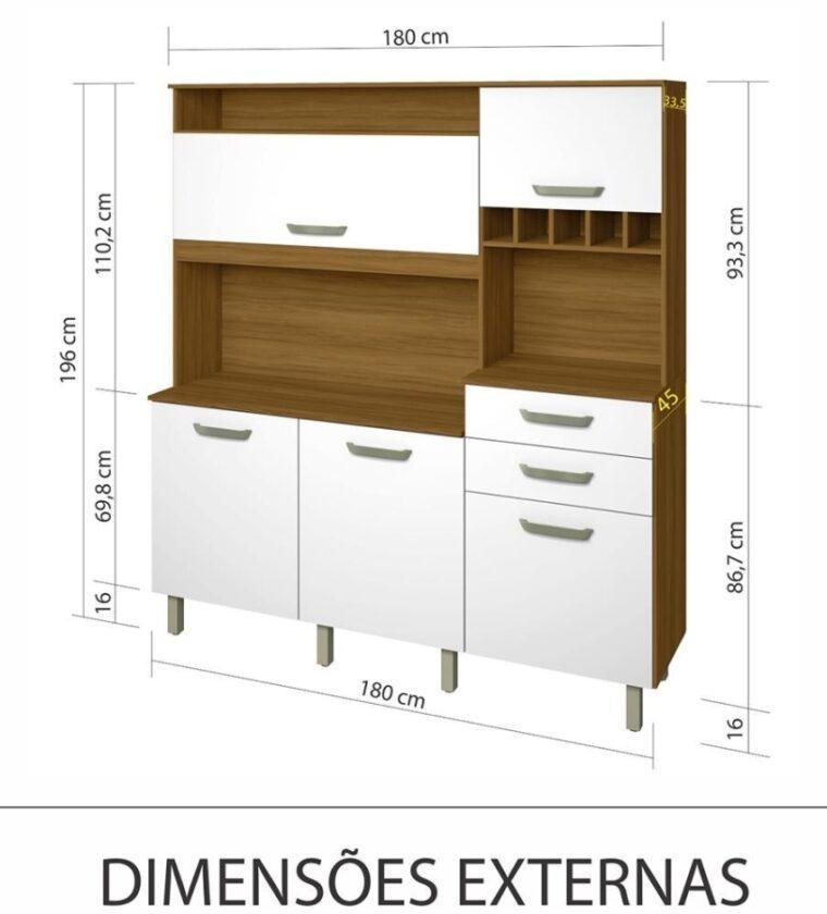Cozinha Smart 5 portas/2 Gavetas - Freijo/Branco - Nesher