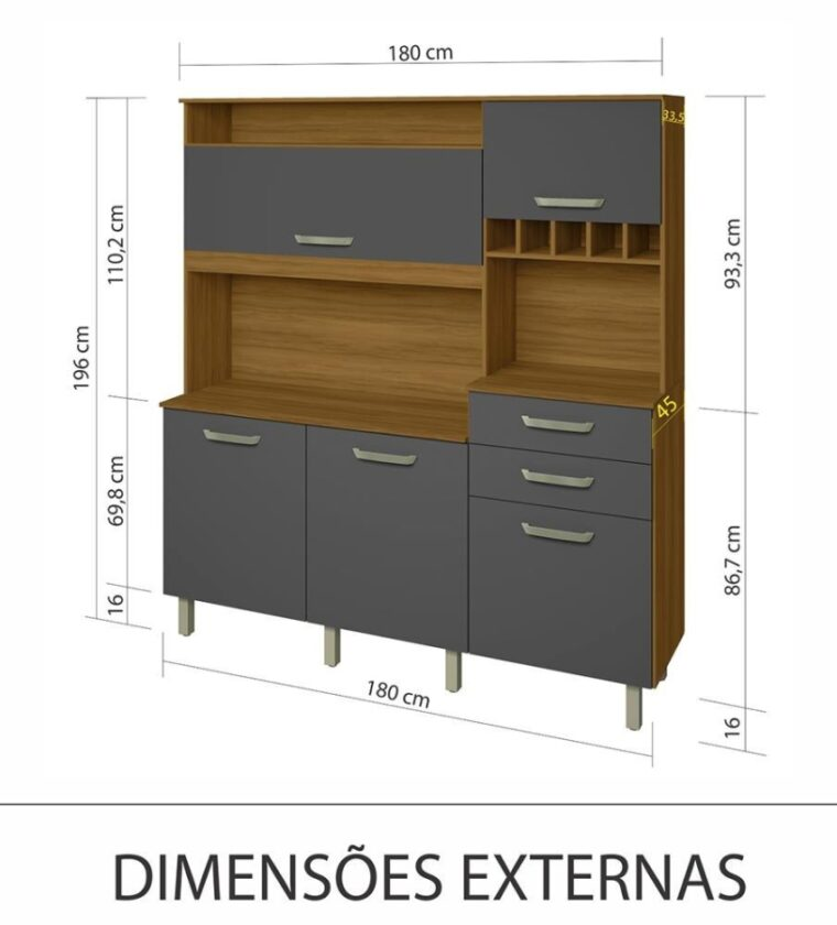 Cozinha Smart 5 portas/2 Gavetas - Freijo/Grafite - Nesher