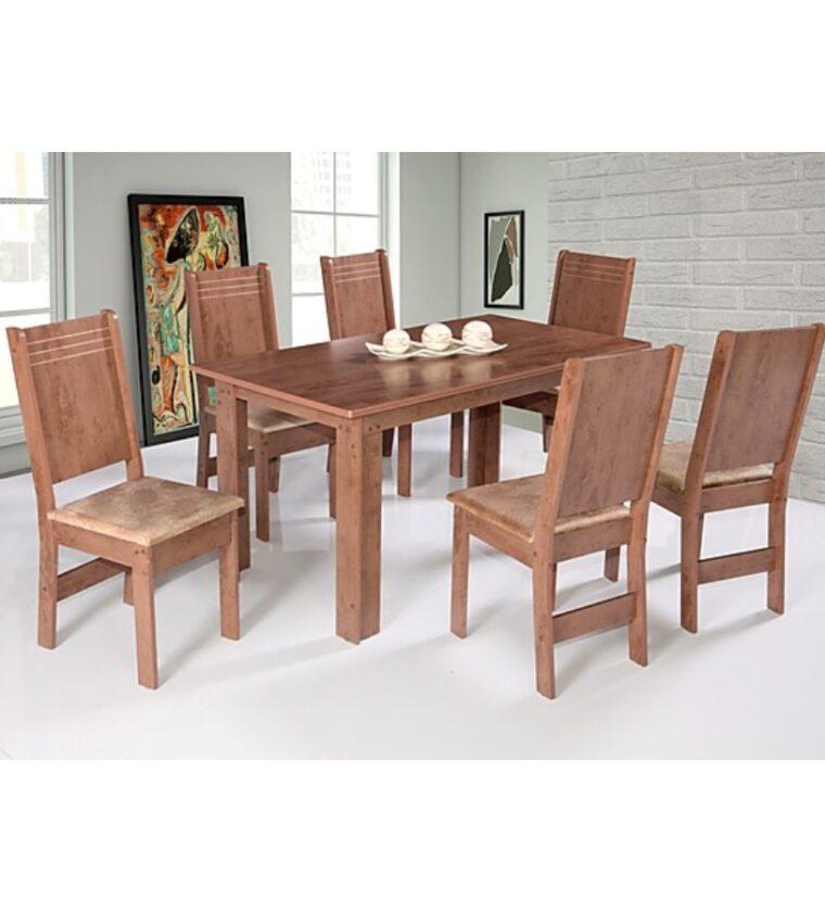 Conjunto Mesa Mariah 6 Cadeiras - Asgard Bege/Cedro Demolição - São Carlos